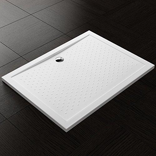 TBH: 80x100x4cm Design Duschtasse Lucia04AR mit Anti-Rutsch Profi, inkl. Ablaufgarnitur AL02, in Weiß, Duschwanne, Acrylwanne