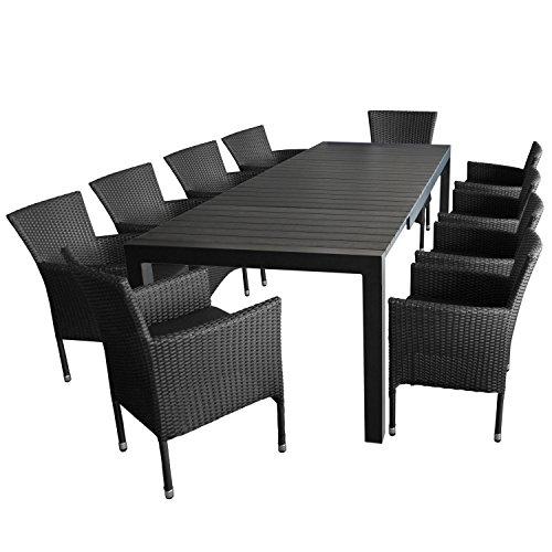 11tlg gartengarnitur gartentisch ausziehbar 205275x100cm polywood tischplatte 10x. Black Bedroom Furniture Sets. Home Design Ideas