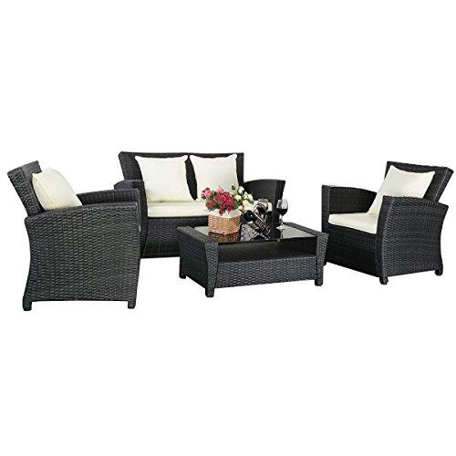 11tlg gartenm bel schwarz rattan lounge set loungegruppe sitzgruppe rattanm bel wasserfest. Black Bedroom Furniture Sets. Home Design Ideas