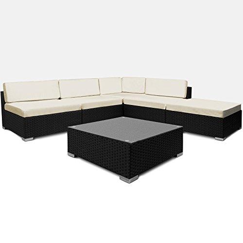 Deuba XXL Poly Rattan Lounge Set schwarz | 7cm dicke Sitzkissen creme | Elemente flexibel kombinierbar | UV-beständiges Polyrattan - Sitzgruppe Sitzgarnitur Gartenmöbel Garten Set