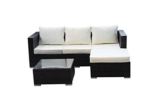 1PLUS Gartensofa Lounge-Ecksofa aus Polyrattan (braun) inkl. Tisch mit Glasplatte und wasserabweisenden Polstern