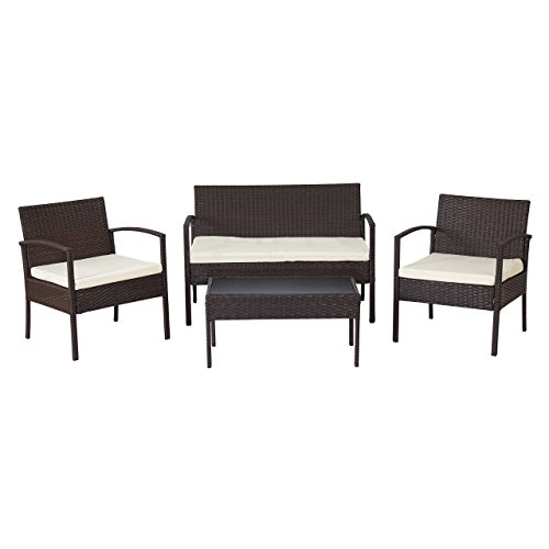 mendler 2 1 1 poly rattan garten garnitur alicante sitzgruppe braun meliert kissen creme. Black Bedroom Furniture Sets. Home Design Ideas