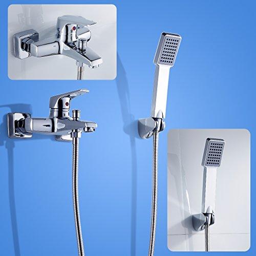 2 Jahre Garantie Auralum® Luxus Deisign Chrom Dusche Armatur Wasserfall Duschset Zeitgenössische Badewanne Wasserhahn