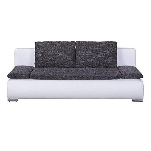 CARO-Möbel 2-Sitzer Schlafcouch Schlafsofa Vincent in Weiß/Schwarz mit Bettkasten und Kissen
