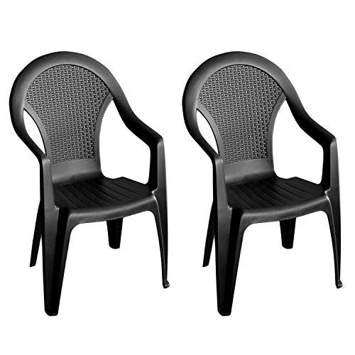 2 st ck gartenstuhl stapelstuhl gartensessel rattan look. Black Bedroom Furniture Sets. Home Design Ideas