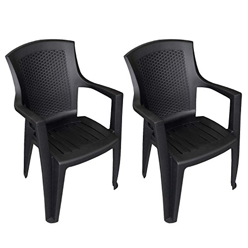 2 stck stapelstuhl rattan look gartenstuhl gartensessel kunststoff bistrostuhl balkonmbel. Black Bedroom Furniture Sets. Home Design Ideas