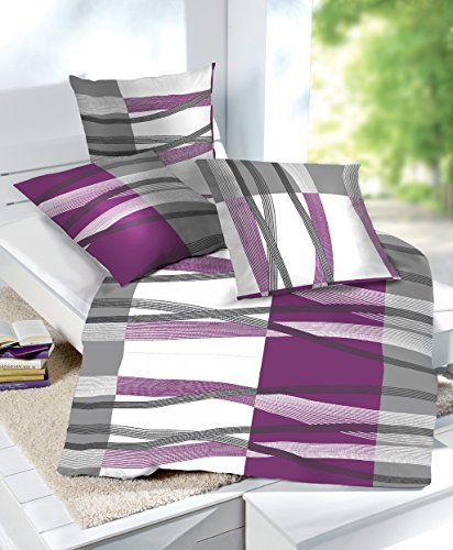 2 tlg et rea microfaser bettw sche hunter streifen lila wei grau 155x200 cm 80x80 cm. Black Bedroom Furniture Sets. Home Design Ideas