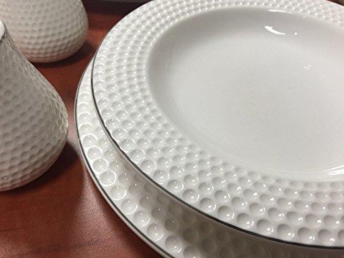 28-Teilig Tafelservice Ess Service Porzellan Set Geschirr Rund in weiß für 6 Personen (Paris)