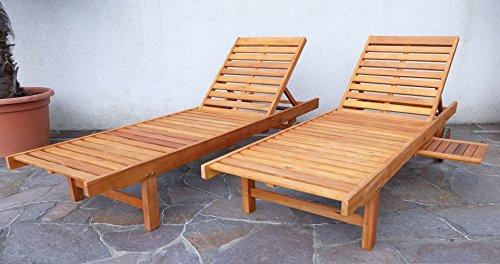 2x Sonnenliege Gartenliege Strandliege Liegestuhl Holzliege Holz Eukalyptus Hartholz wie Teak SABALO von AS-S