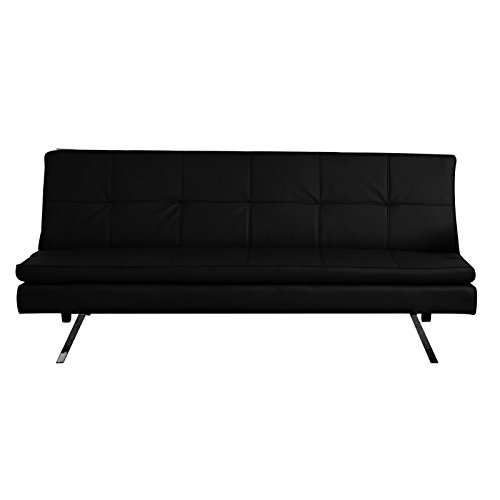 CARO-Möbel 3-Sitzer Schlafsofa Sofa ISODORA, Kunstleder Schwarz mit Doppelmatratze