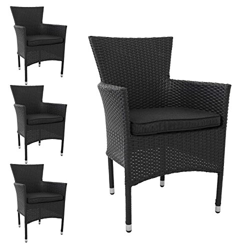 multistore 2002 4 st ck poly rattan gartensessel stapelstuhl gartenstuhl rattanstuhl. Black Bedroom Furniture Sets. Home Design Ideas