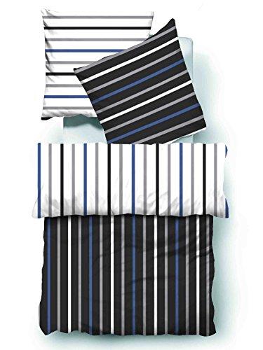 4 teilig microfaser seersucker bettw sche weiss schwarz blau mit rei verschluss gestreift in. Black Bedroom Furniture Sets. Home Design Ideas