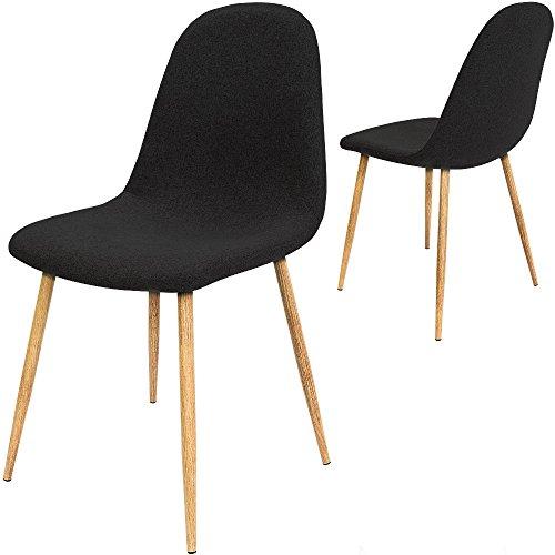 4x Deuba® Design Stuhl Esszimmerstühle Küchenstuhl • 50cm Sitzhöhe • ergonomisch geformte Sitzschale • 120kg Belastbarkeit • Stuhlbeine mit Naturholzoptik • schwarz