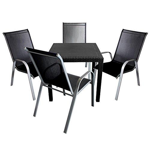 5tlg gartengarnitur kunststoff gartentisch mit rattan look 79x79cm 4x stapelstuhl. Black Bedroom Furniture Sets. Home Design Ideas