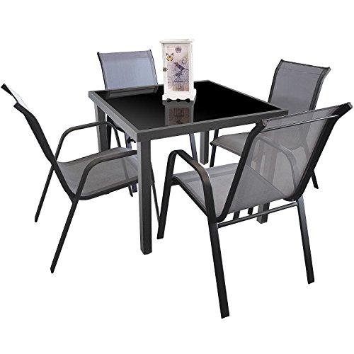 5tlg gartengarnitur sitzgruppe sitzgarnitur glastisch for Glastisch 90x90