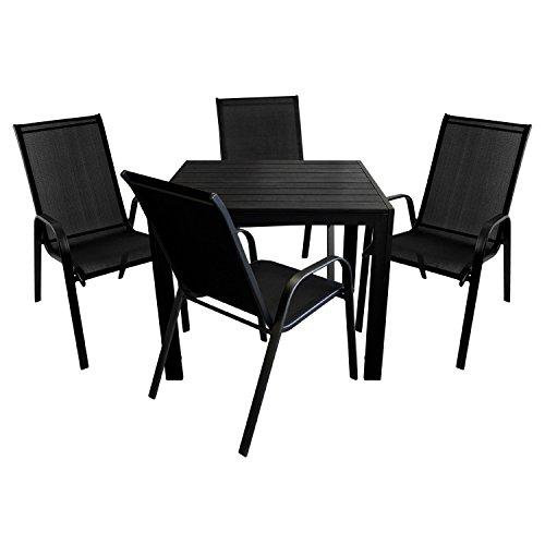5tlg gartenm bel set aluminium polywood gartentisch. Black Bedroom Furniture Sets. Home Design Ideas