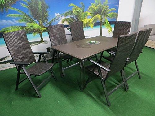 """7-teilige Luxus Aluminium Polyrattan Gartenmöbelgruppe """"Venezia Algiri"""" in braun Klappsessel und Designertisch von Mandalika Garden"""