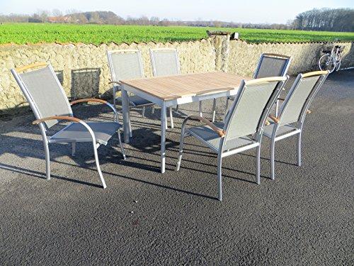 "7-teilige Luxus Aluminium Teak Textilen Gartenmöbelgruppe ""Concept Monza"" in silber anthrazit mit Stapelsesseln"