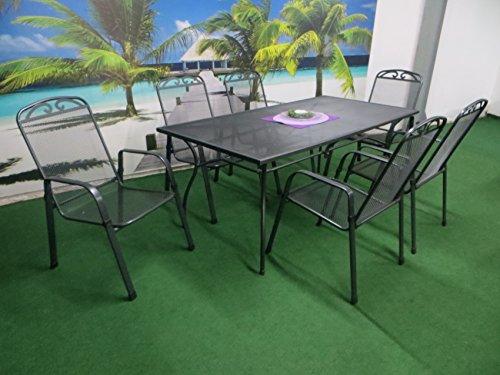 7-teilige Luxus Streckmetall Gartenmöbelgruppe von MFG und RRR, Stapelsessel und Gartentisch 180x90 anthrazit, P21