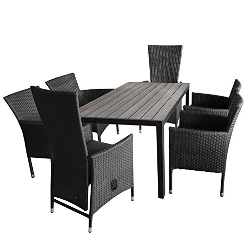 7tlg gartengarnitur aluminium gartentisch polywood tischplatte 150x90cm 4x stapelbare. Black Bedroom Furniture Sets. Home Design Ideas
