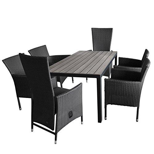 7tlg gartengarnitur aluminium gartentisch polywood tischplatte 150x90cm 4x stapelbare. Black Bedroom Furniture Sets. Home Design Ideas