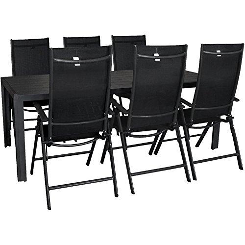 7tlg gartengarnitur aluminium polywood gartentisch 205x90cm 7 positionen hochlehner mit 2x2. Black Bedroom Furniture Sets. Home Design Ideas