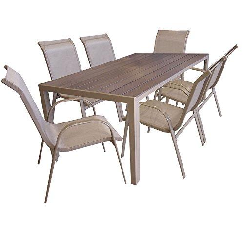 7tlg gartengarnitur sitzgruppe gartenm bel set aluminium gartentisch mit polywood tischplatte. Black Bedroom Furniture Sets. Home Design Ideas