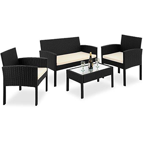 7tlg Rattanlounge Sitzgruppe mit Glastisch PolyRattan Sitzgarnitur Gartenmöbel Gartengarnitur