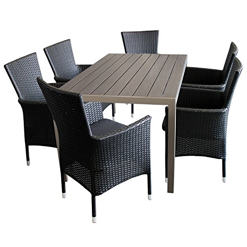 7tlg sitzgarnitur terrassenm bel set aluminium polywood non wood tisch champagner 150x90cm 6x. Black Bedroom Furniture Sets. Home Design Ideas
