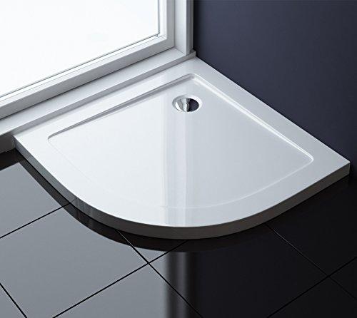 90x90x4 cm Design Duschtasse Faro3 in Weiß Duschwanne Acrylwanne Viertelkreis