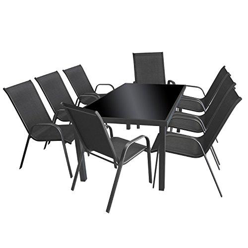 9tlg gartengarnitur glastisch 180x90cm anthrazit schwarz for Glastisch schwarz