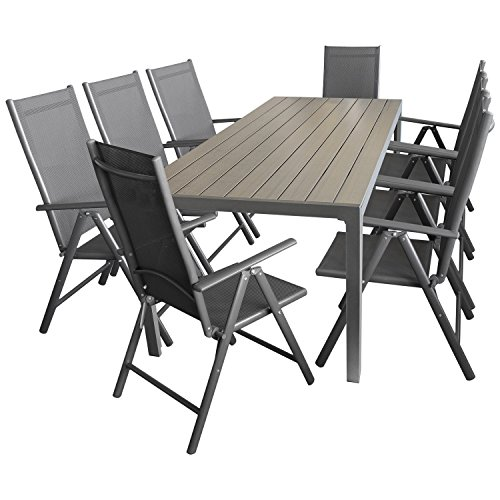 Multistore 2002 9tlg. Sitzgarnitur Sitzgruppe Gartengarnitur Gartenmöbel Terrassenmöbel Set Aluminium Polywood Tisch 205x90cm + 8X Hochlehner 2x2 Textilen