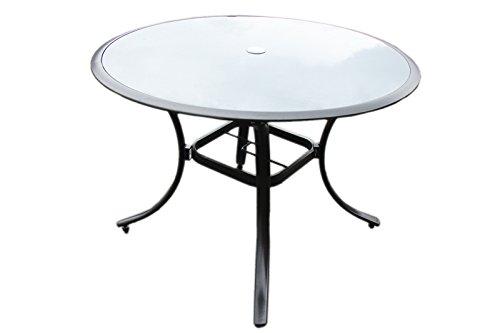 Alu gartentisch glastisch glas tisch rund tisch 110 anthrazit esstisch t18 m bel24 - Gartentisch alu glas ...