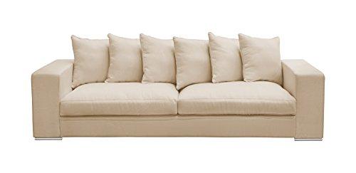 Amaris Elements | 'Monroe' Modernes 4 Sitzer-Sofa Inklusive 6 Kissen Couch Mikrofaser in Samt-Optik Beige/Creme - XXL Sofa im Landhausstil 4 Sitzer Wohnlandschaft