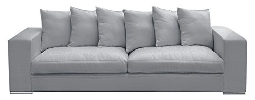 Amaris Elements | Sofa 'Monroe' Inklusive 6 Kissen, Couch Samt aus Mikrofaser Samt Optik Grau Sitzgarnitur Wohnlandschaft Loungesofa 4 Sitzer 4er Samtsofa