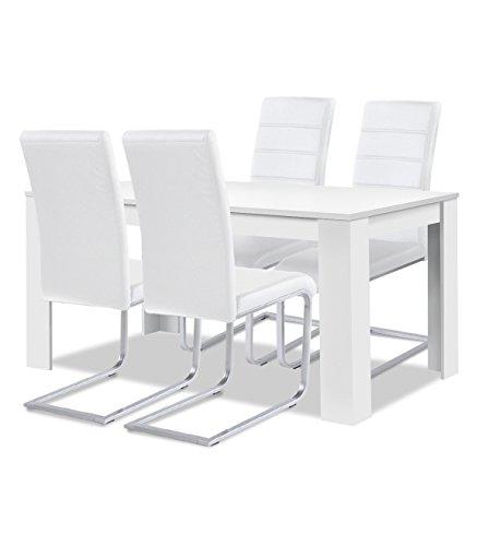 agionda Esstisch + Stuhlset : 1 x Esstisch Toledo 140 x 90 Weiss + 4 Freischwinger Kunstleder Weiss