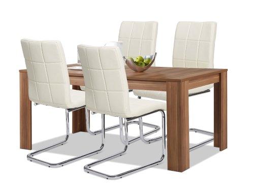 agionda Esstisch + Stuhlset : 1 x Esstisch Toledo Nussbaum + 4 Freischwinger chromgestell Kunstleder creme