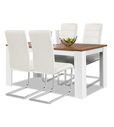 Agionda® Esstisch + Stuhlset : 1 x Esstisch Toledo Nussbaum / Weiss 120 + 4 Freischwinger weiss