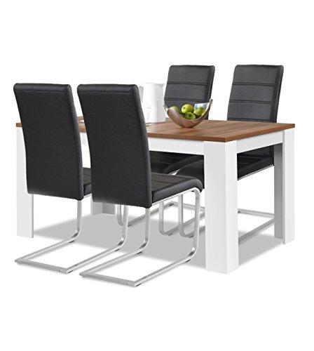 agionda Esstisch + Stuhlset : 1 x Esstisch Toledo Nussbaum und Weiss 140 x 90 + 4 Freischwinger JAN PIET PU Kunstleder schwarz