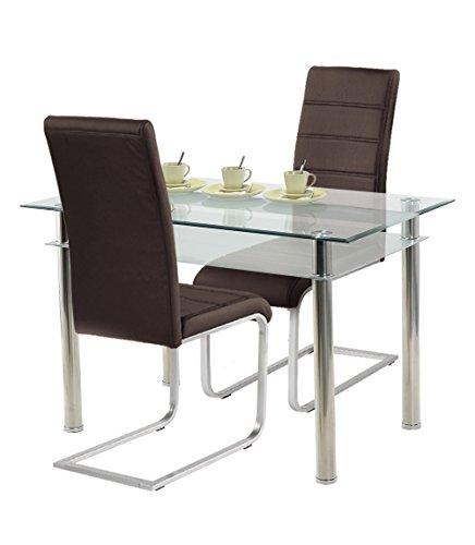 Agionda® Esstischset Jake 120x70 mit 2 Freischwinger Kunstleder braun für die kleine Küche