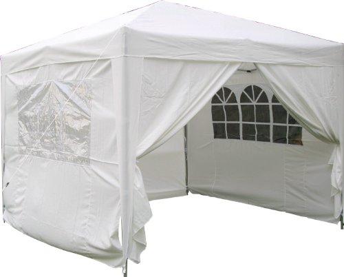 Airwave Pop-Up-Pavillon, 3x3m, weiß, wasserfester GartenPavillon, 2 Windstangen und 4 Gewichte für die Beine
