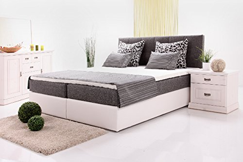 alina boxspringbett wei dunkelgrau 180x200 cm liegefl che inkl topper m bel24. Black Bedroom Furniture Sets. Home Design Ideas