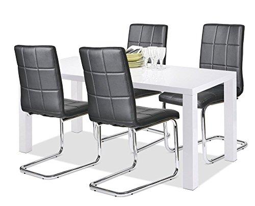 Agionda Esstisch + Stuhlset : 1 x Esstisch GÖTEBORG 140 x 80 + 4 Freischwinger PAUL Chromgestell schwarz