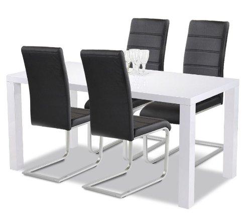 Agionda Esstisch + Stuhlset : 1 x Esstisch Göteborg 140 Hochglanz weiss + 4 Ilert Freischwinger schwarz