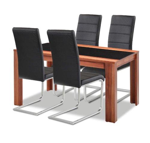 Allegro Esstisch + Stuhlset : 1 x Esstisch Orlando + 4 Freischwinger schwarz