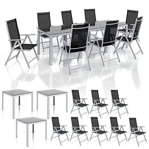 Alu Sitzgarnitur Gartenmöbel Set 11-teilig Garnitur Sitzgruppe 3 Tische 8 Klappstühle