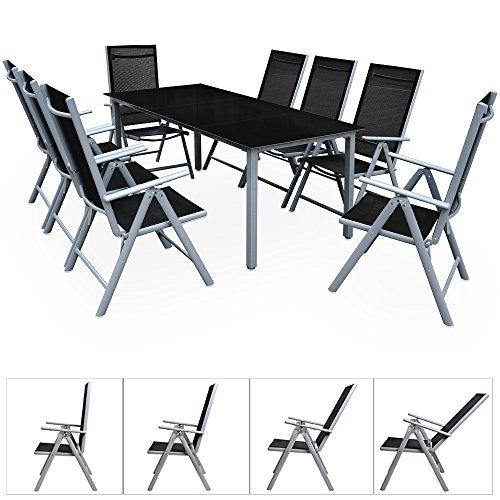 deuba aluminium sitzgruppe 8 1 silber 8 verstellbare st hle tisch h henverstellbar 5mm. Black Bedroom Furniture Sets. Home Design Ideas