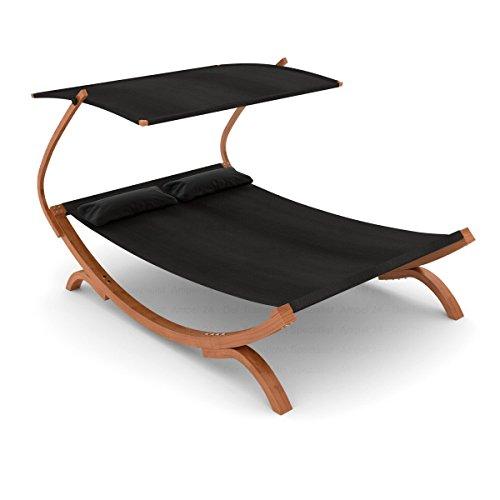 Ampel 24 Doppel-Sonnenliege Panama mit Dach schwarz | Gartenliege mit Holzgestell wetterfest | Sonnendach verstellbar | Doppelliege mit Kissen für Garten und Terrasse
