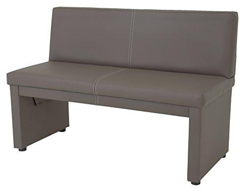 Apollo 920004 Sitzbank Vanessa II mit Lehne, 2-Sitzer, Holzgestell gepolstert, Bezug Kunstleder schlamm  123 x 56 x 83cm