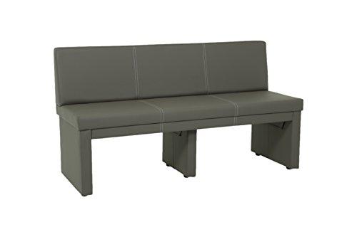 Apollo 920005 Sitzbank Vanessa mit Lehne, 3-Sitzer, Holzgestell gepolstert, Bezug Kunstleder schlamm  151 x 56 x 83cm